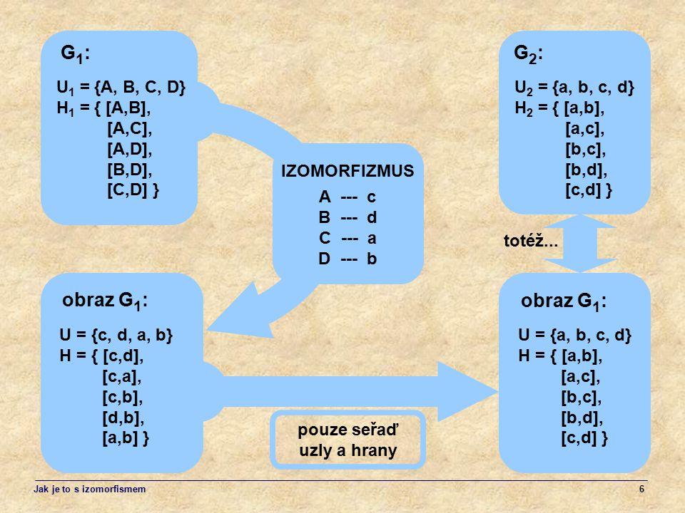 G1: G2: obraz G1: obraz G1: U1 = {A, B, C, D} H1 = { [A,B], [A,C],